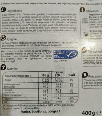 Colin d'Alaska sauce provençale - Informations nutritionnelles - fr