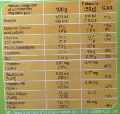 Biscuits germe de blé figue - Nutrition facts - fr