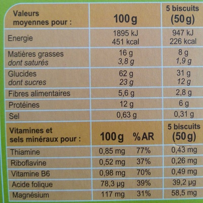 Biscuits vitalité - Soja orange - Informations nutritionnelles - fr