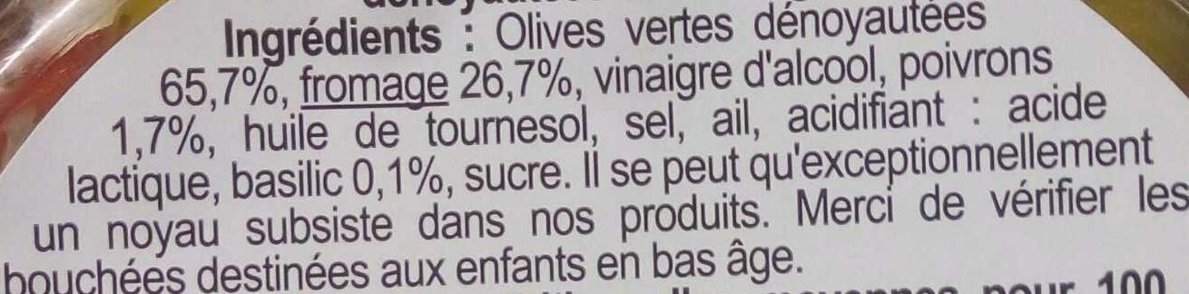 Olives vertes au fromage - Ingrédients - fr