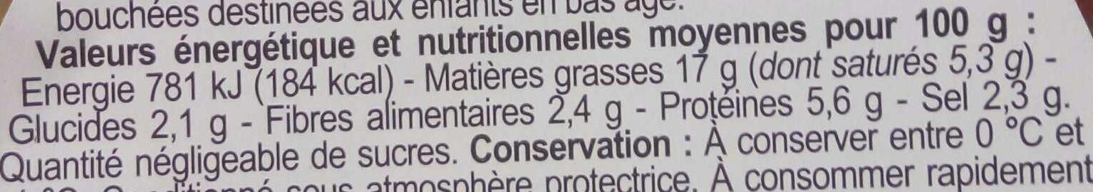 Olives vertes au fromage - Informations nutritionnelles - fr