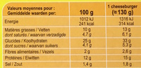 Cheeseburgers - Informations nutritionnelles - fr