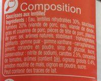 Saucisses aux Lentilles Cuisinées - Ingrédients