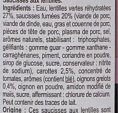 Saucisses aux Lentilles Cuisinées - Ingrédients - fr