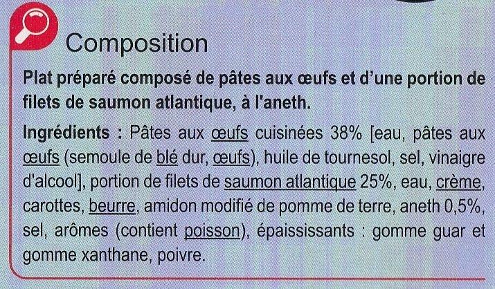Saumon et Tagliatelles aux Oeufs - Ingrédients - fr