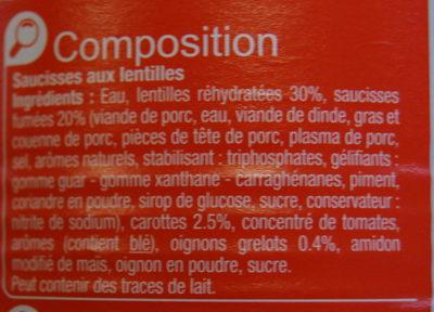 Saucisses aux Lentilles Cuisinées - Ingrediënten