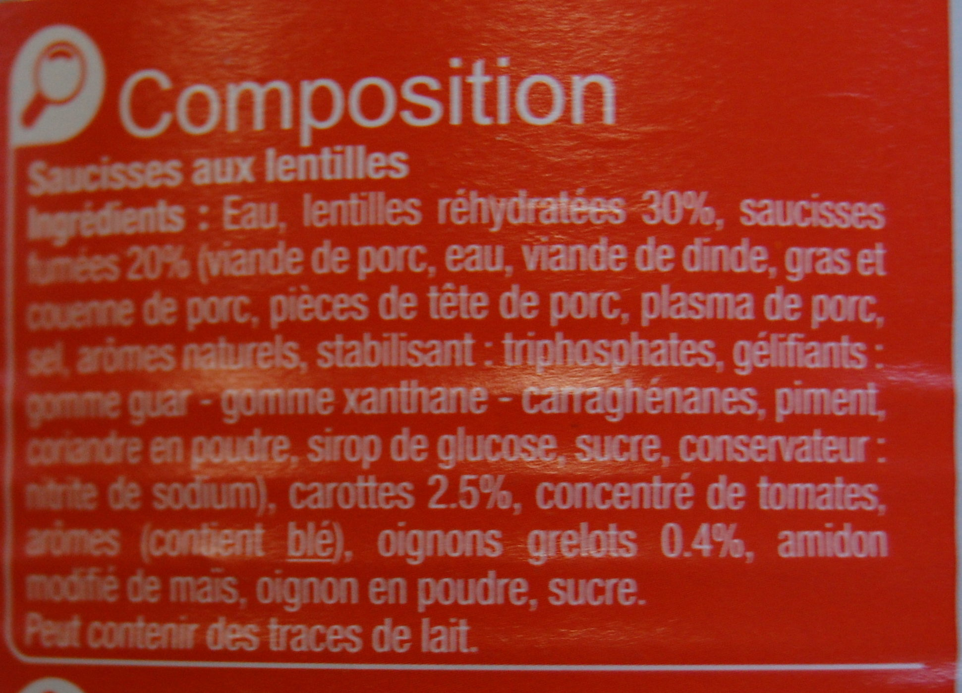 Saucisses aux Lentilles Cuisinées - Ingredients