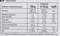 Sablés Cœur à la Figue - Nutrition facts
