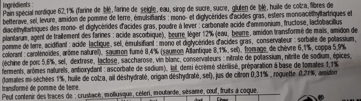 Toasts garnis, pain polaire - Ingredients - fr
