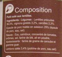 Petit salé aux lentilles, aux lardons et petits oignons - Ingredients - fr