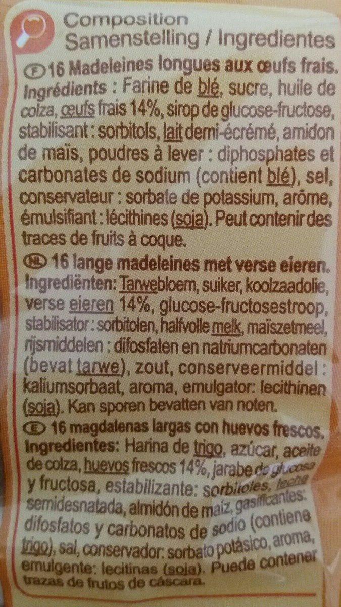 Madeleines longues - Ingredients - fr