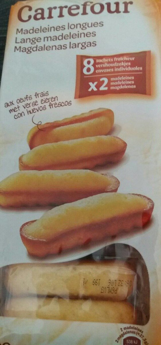 Madeleines longues - Nutrition facts - fr