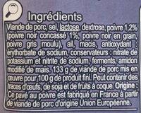 Pavé au Poivre - Ingrediënten - fr