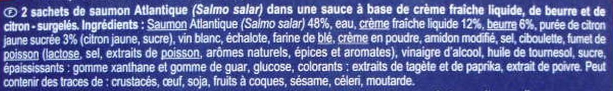 Saumon, sauce Beurre Citron, Surgelé - Ingrediënten - fr