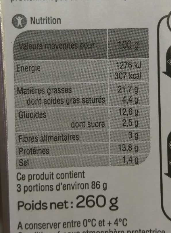 Cake Jambon Olives - Nutrition facts