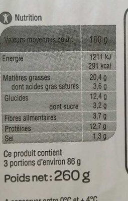 Cake au Thon - Nutrition facts
