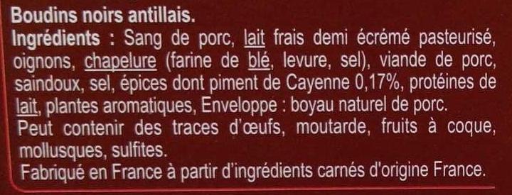 Boudins noirs Antillais - Ingrédients - fr