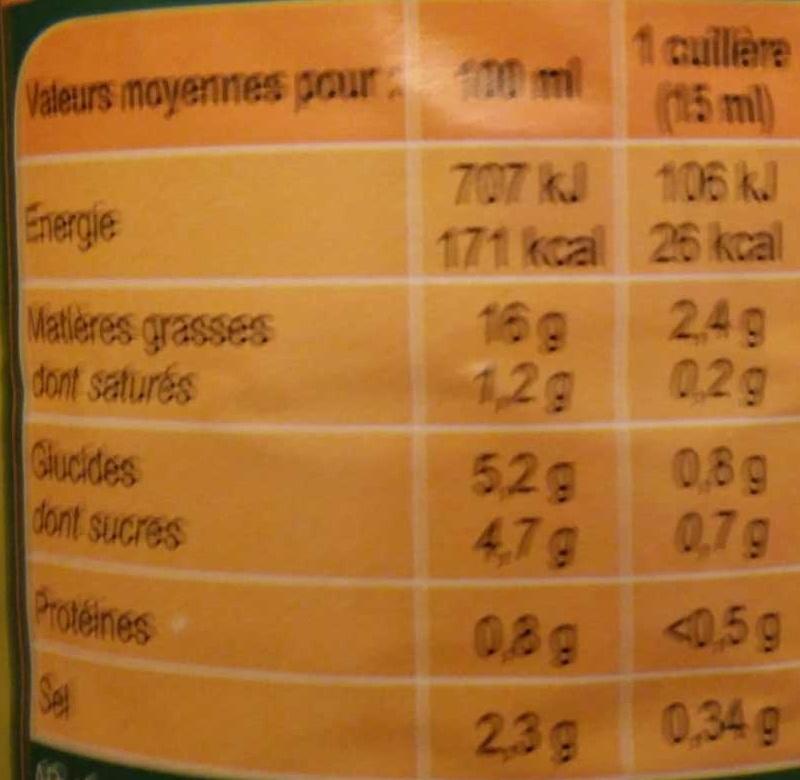 Sauce crudités light nature - Nutrition facts - fr
