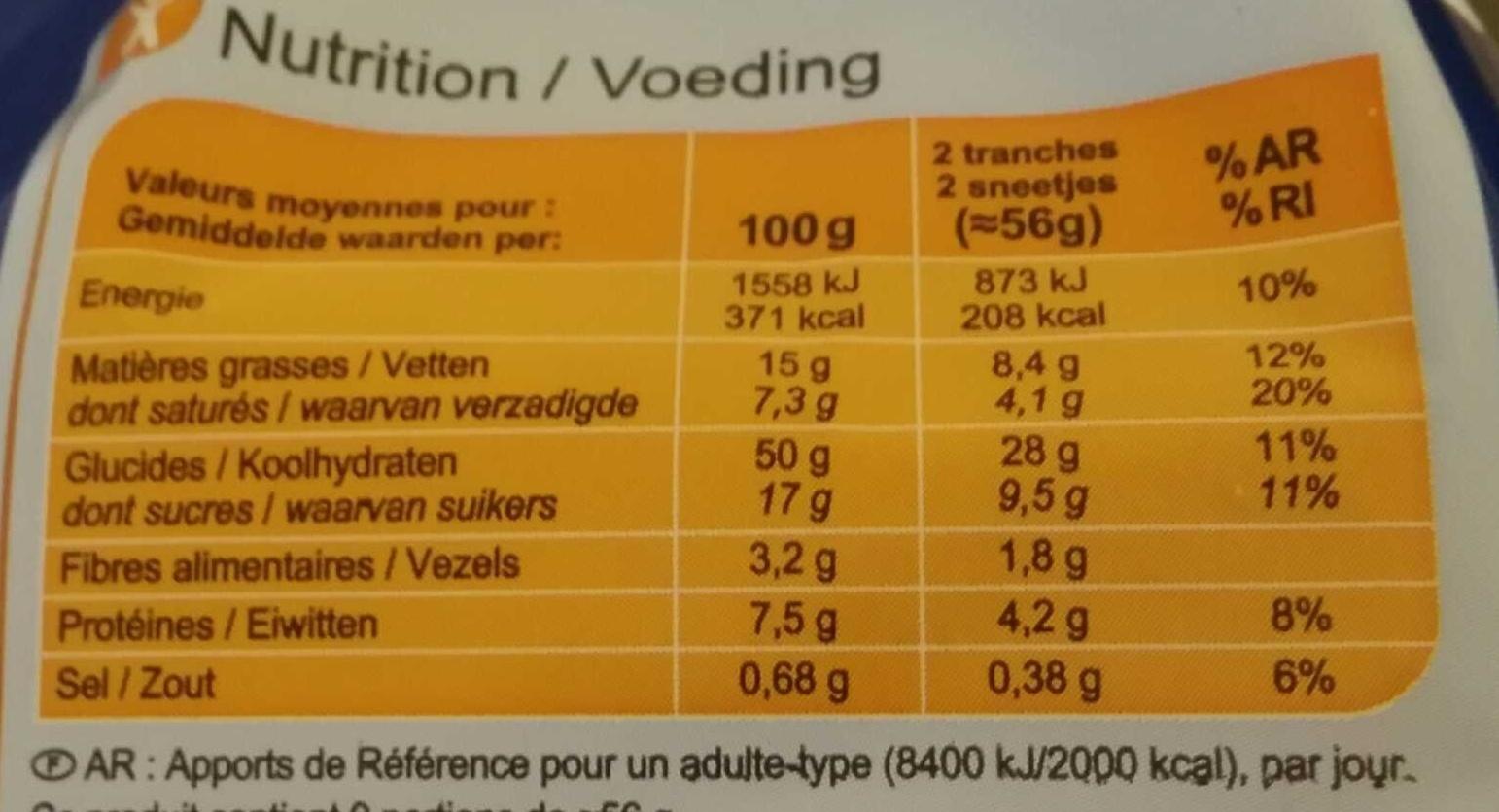 Brioche tranchée aux pépites de chocolat - Nutrition facts - fr