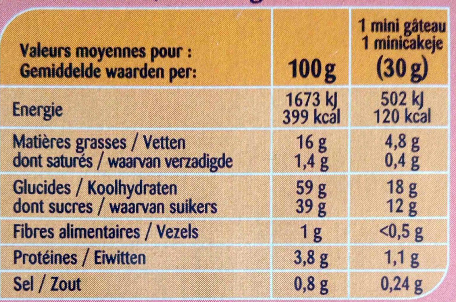 Mini gâteaux - Nutrition facts - fr