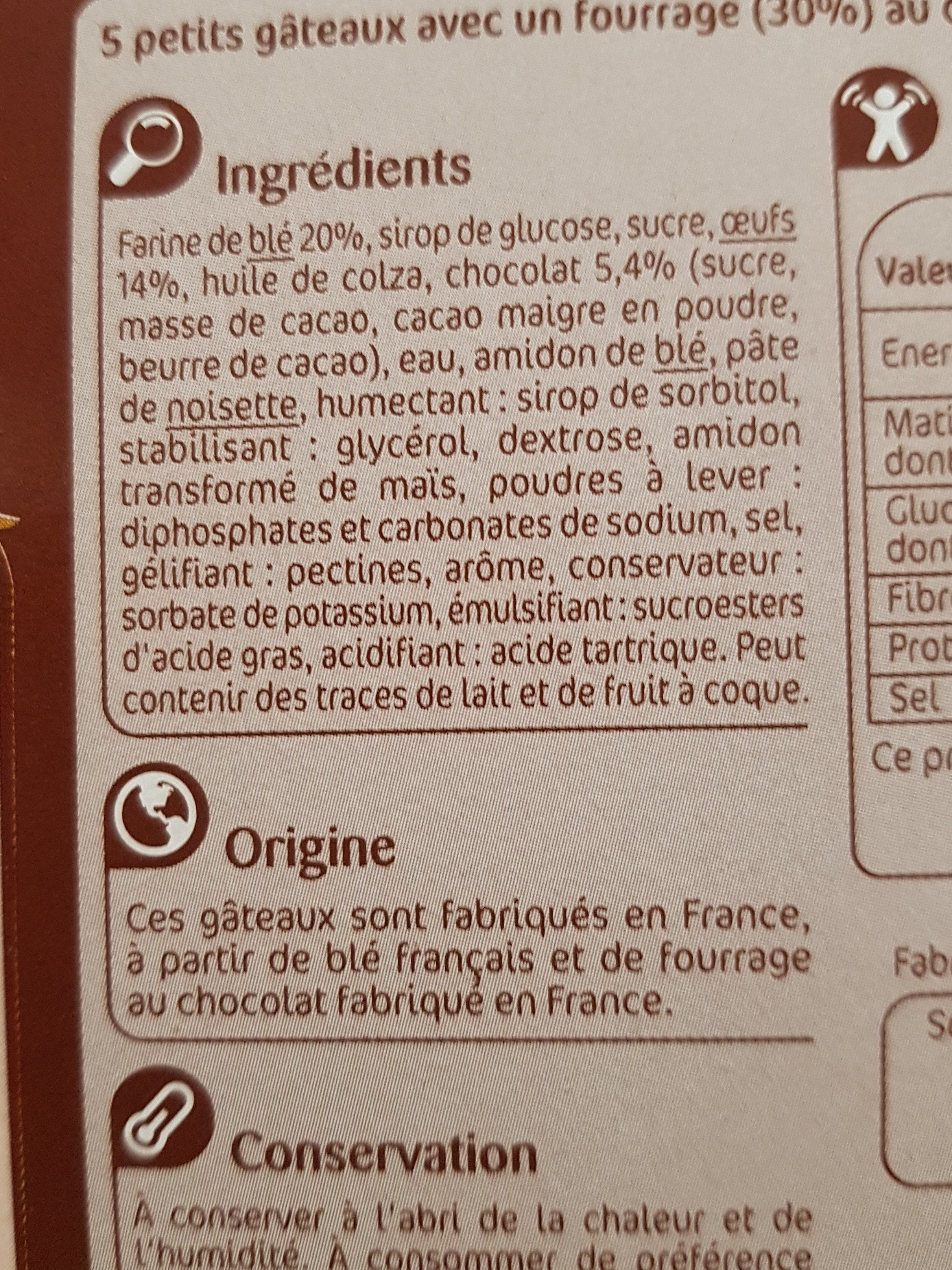 Mini gâteaux - Ingrediënten