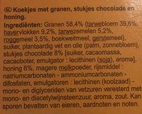 Biscuits P'tit dèj aux pépites de chocolat et au miel - Ingrediënten - nl