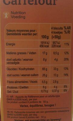 Biscuits P'tit dèj aux pépites de chocolat et au miel - Voedingswaarden - fr