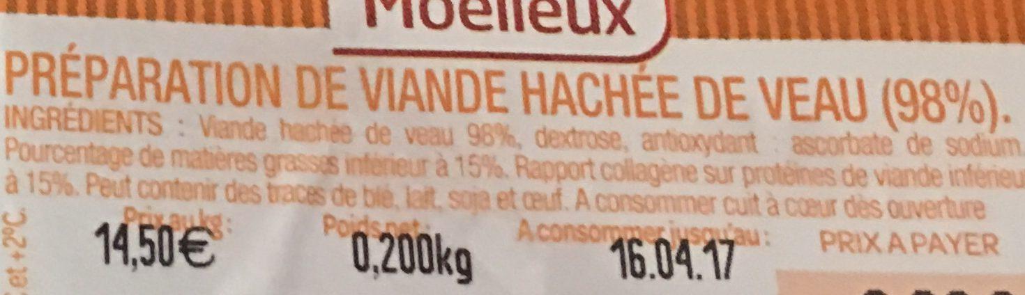 Haché de Veau Moelleux - Informations nutritionnelles