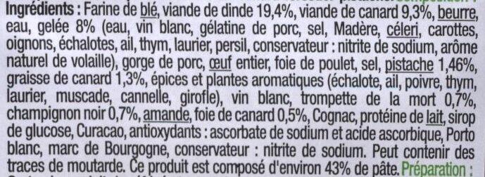 Pâté En Croûte De Canard Pistaché - Ingrediënten