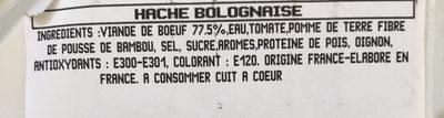 Haché Bolognaise - Ingrédients