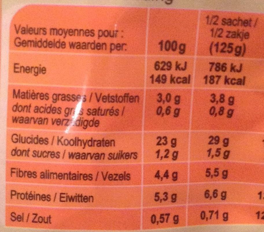Mélange de Céréales Express' - Informations nutritionnelles - fr