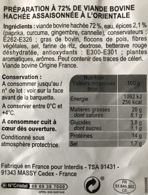 Boulettes Au Boeuf à L'orientale - Ingrédients