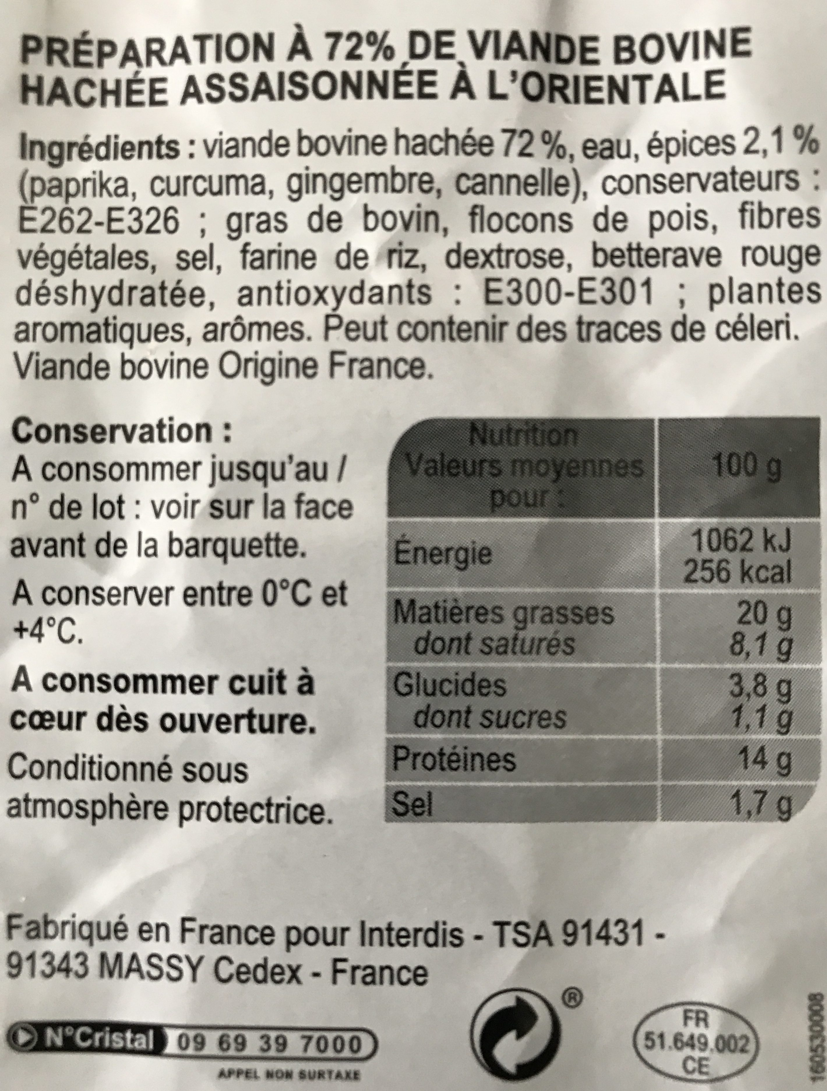 Boulettes Au Boeuf à L'orientale - Ingrédients - fr