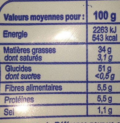 Chips craquantes - Informations nutritionnelles