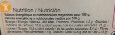 Le Tiramisu - Voedingswaarden