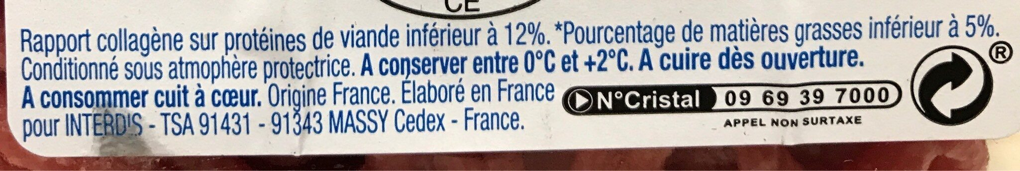 Viande hachee pur boeuf 5% MG - Informations nutritionnelles - fr
