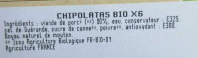 Chipolatas Bio - Ingrediënten - fr