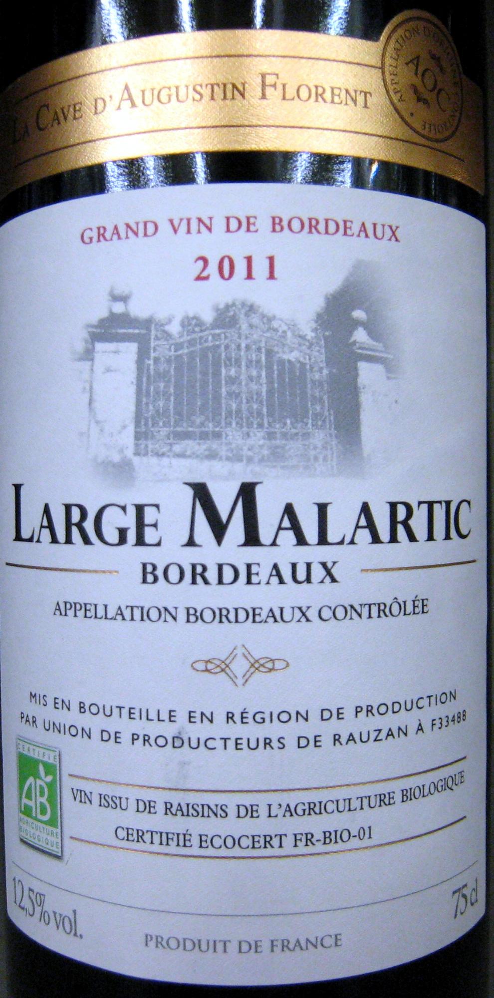 Bordeaux AOC 2011 Bio Large Malartic - Prodotto - fr