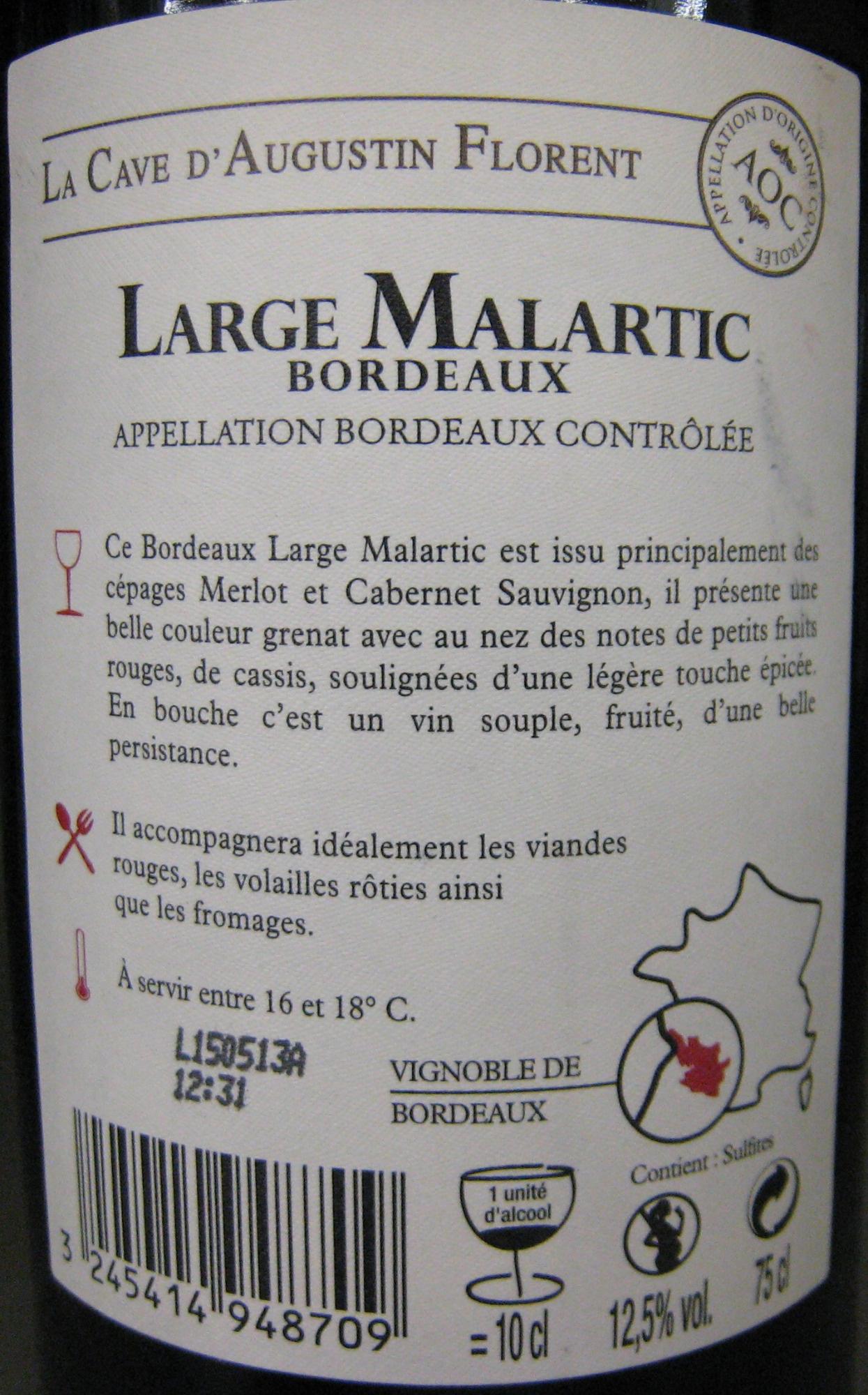 Bordeaux AOC 2011 Bio Large Malartic - Ingredienti - fr
