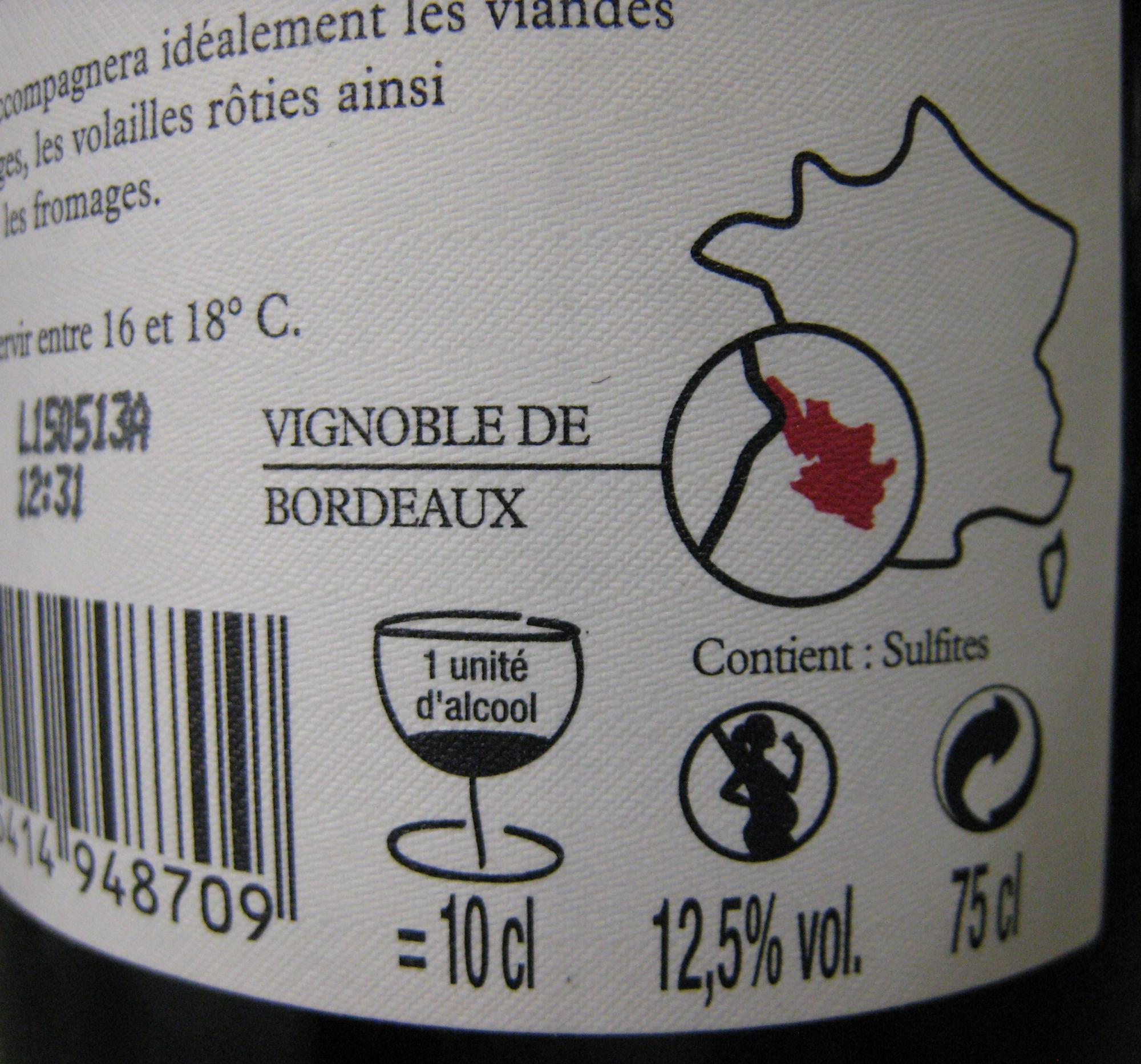 Bordeaux AOC 2011 Bio Large Malartic - Valori nutrizionali - fr