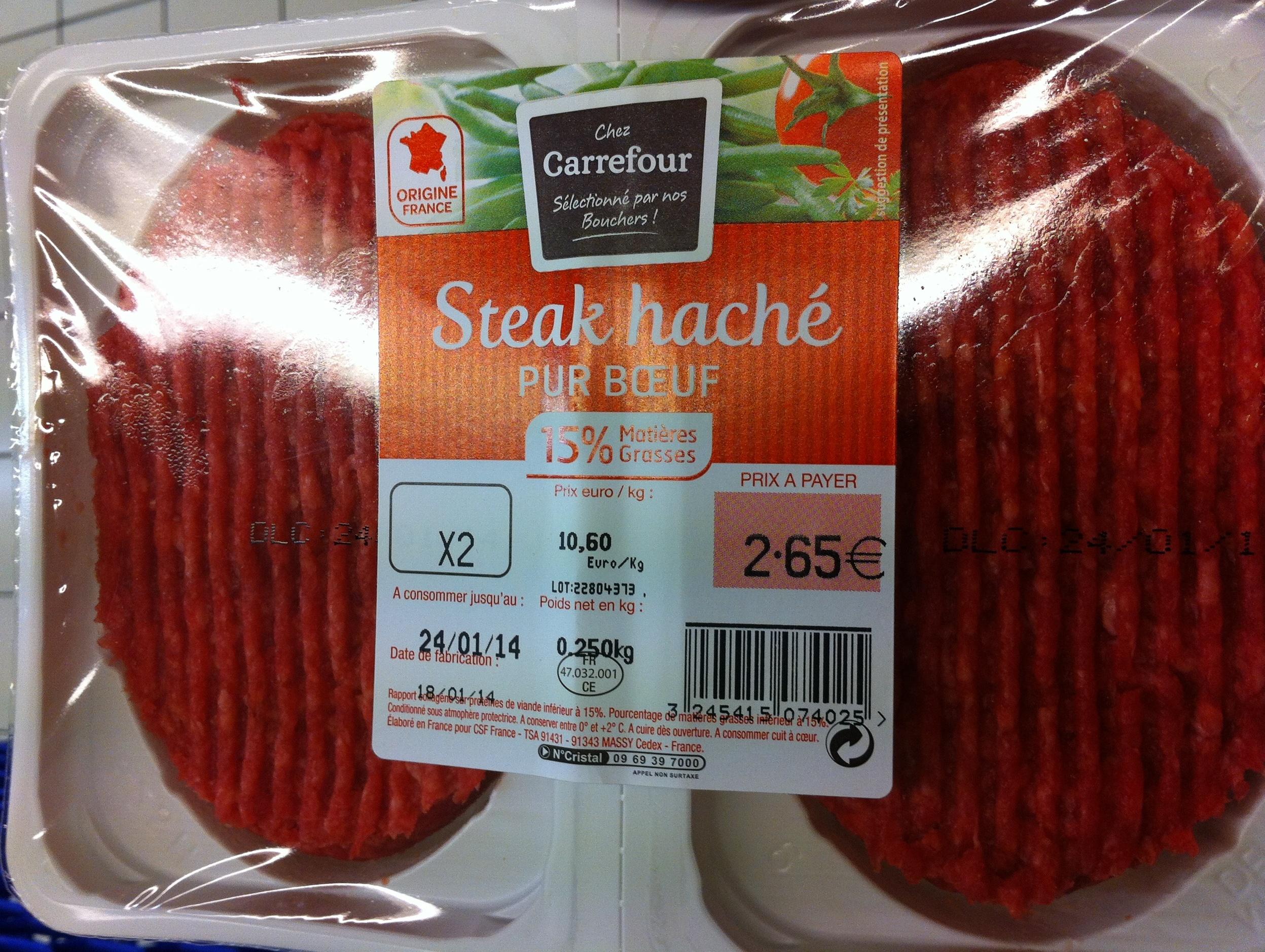 Steak haché (x 2), Pur Bœuf (15 % MG) - Product - fr
