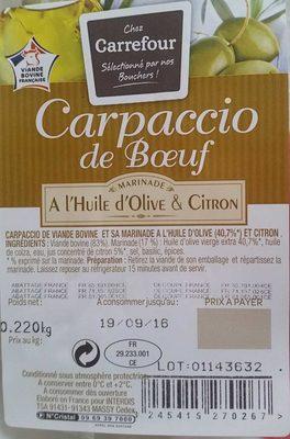 Carpaccio de Bœuf Finement Tranché à l'Huile d'olive & Ccitron - Prodotto - fr