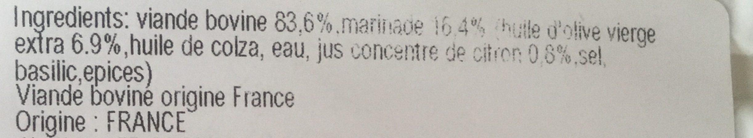 Carpaccio de Bœuf Finement Tranché à l'Huile d'olive & Ccitron - Ingredienti - fr