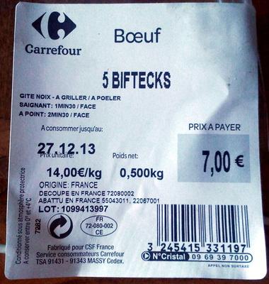Boeuf 5 Biftecks - Product - fr