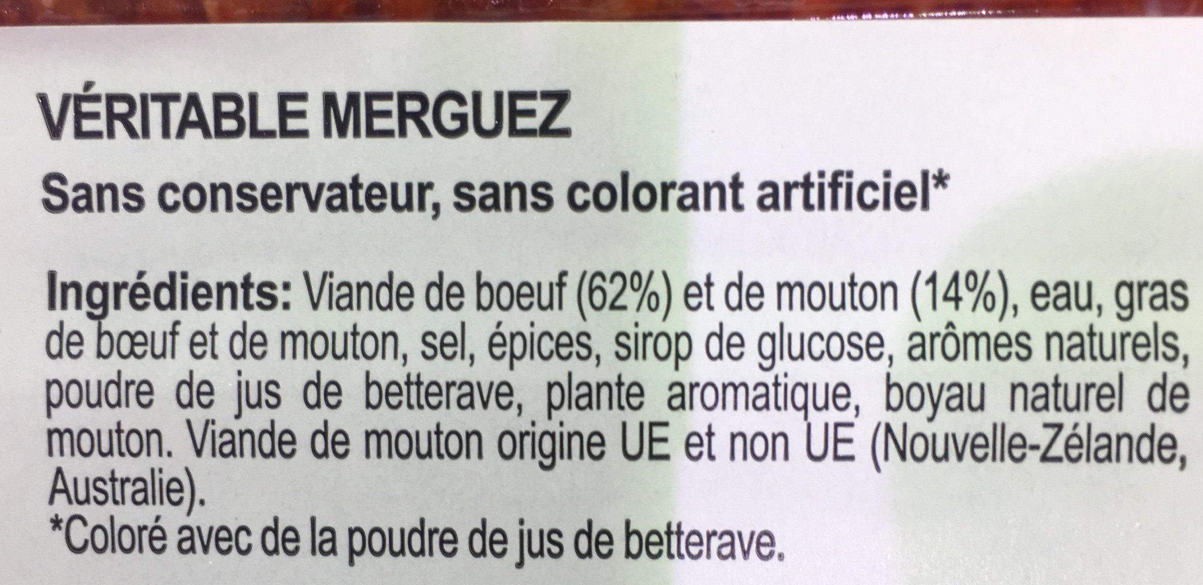 Véritable Merguez Boeuf & Mouton (x 12) - Ingrediënten - fr