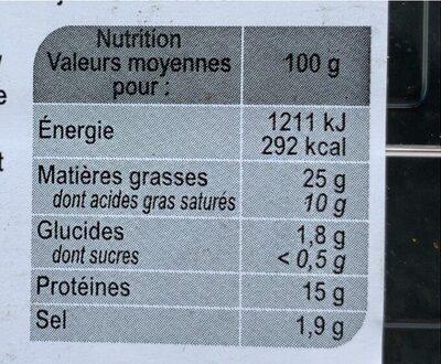 Véritable Merguez Boeuf & Mouton (x 12) - Informations nutritionnelles - fr