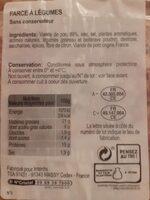 Farce à légumes pur porc - Informations nutritionnelles - fr