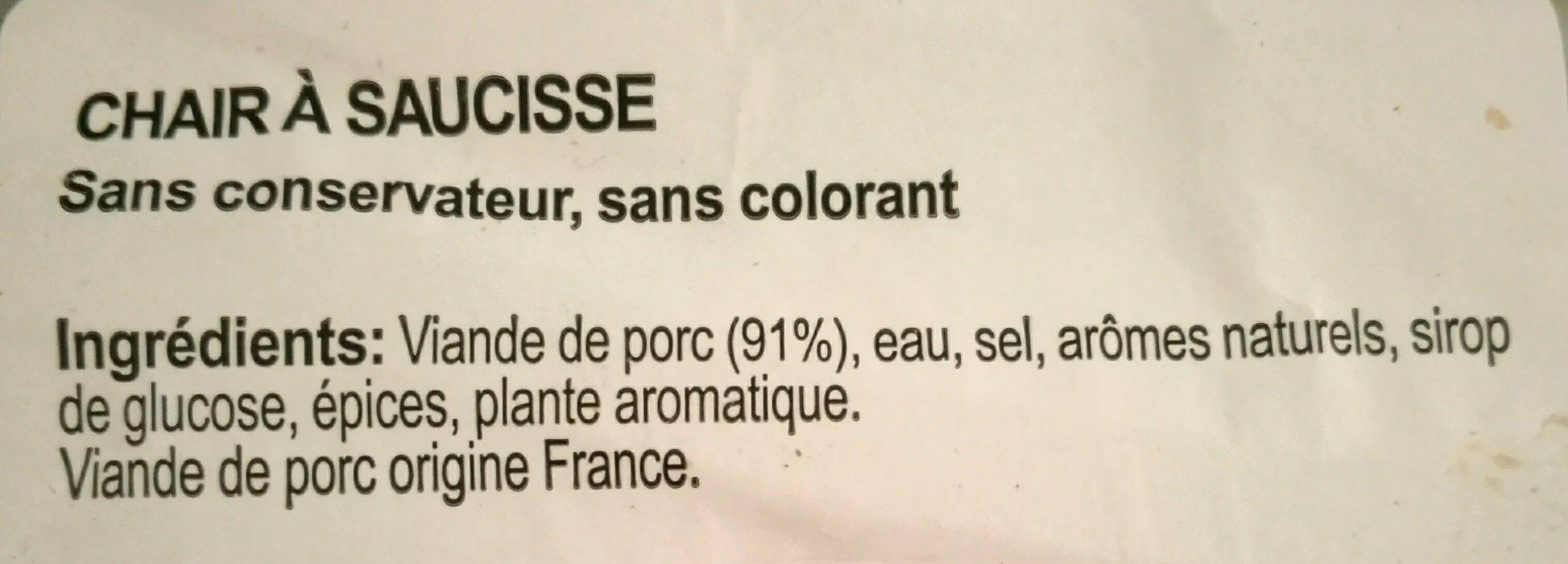 Chair à Saucisse - Ingredients