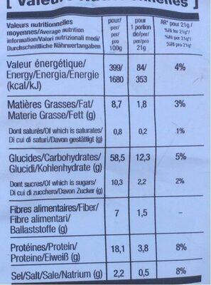 Snack poppé T&H - Informations nutritionnelles - fr
