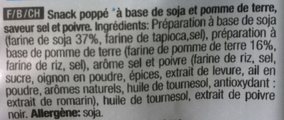 Snack Poppé - Ingrédients